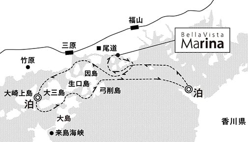 大三島沖・詫間湾沖錨泊3日間 クルージング